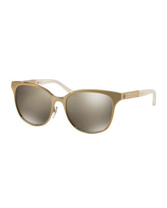 Wood-Temple Cat-Eye Sunglasses, Gold