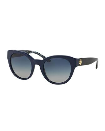 Universal-Fit Cat-Eye Sunglasses, Navy