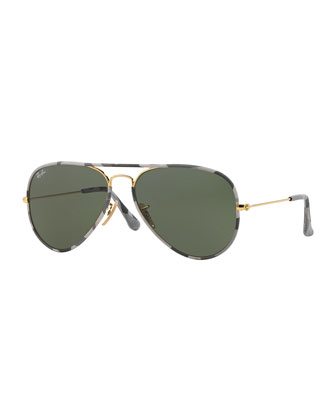 Printed-Rim Aviator Sunglasses