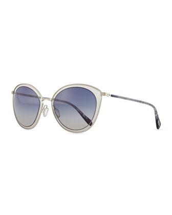 Gwynne Lens-in-Lens Sunglasses, Blue/Silver