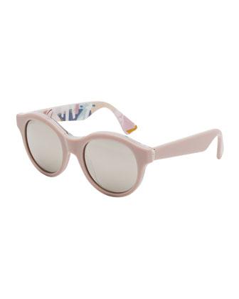 Mona Ferragosto Round Sunglasses, Pink