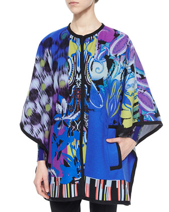 Orchid-Print Woven Poncho