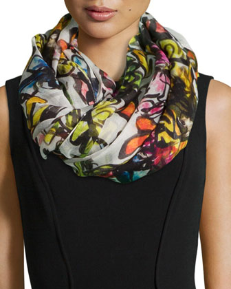 Floral-Print Oblong Scarf, White