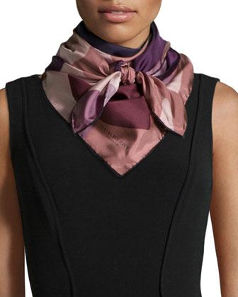 Camo Floral Silk Square Scarf, Purple/Pink
