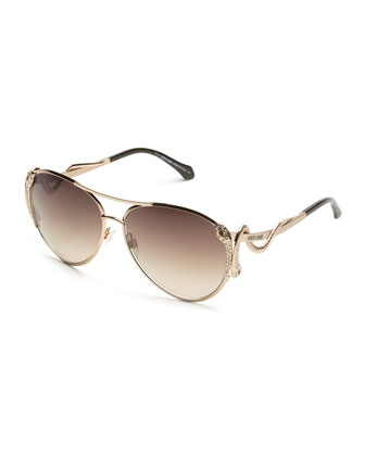Mimosa Snake-Temple Aviator Sunglasses, Rose Golden