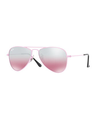 Children's Mirrored Aviator Sunglasses, Pink