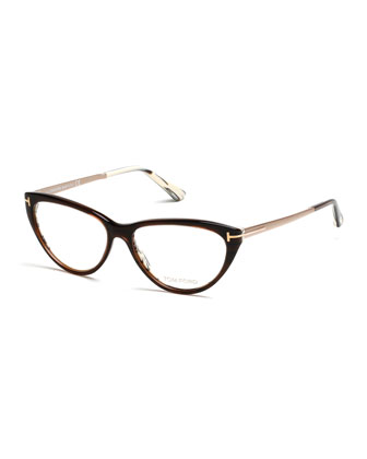 Cat-Eye Metal/Plastic Fashion Glasses