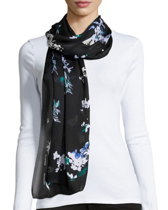 Floral-Print Silk Scarf, Green/Black