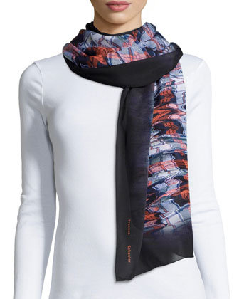 Warped Plaid-Print Scarf, Black/Orange