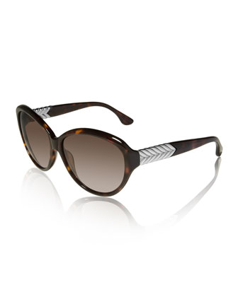 Metal-Chevron Butterfly Sunglasses