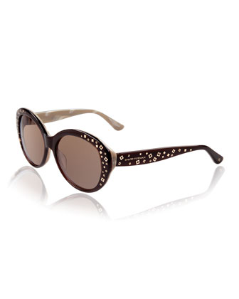 Quatrefoil-Inlay Round Sunglasses