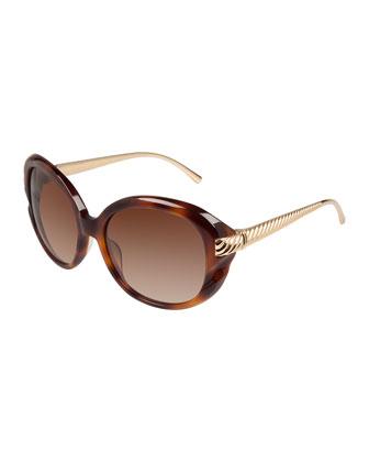 Waverly Oval Ridged-Arm Sunglasses