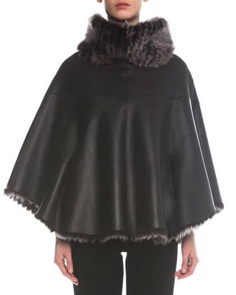 Reversible Shearling Fur/Leather Poncho & Jersey Zip-Cuff Ankle Pants