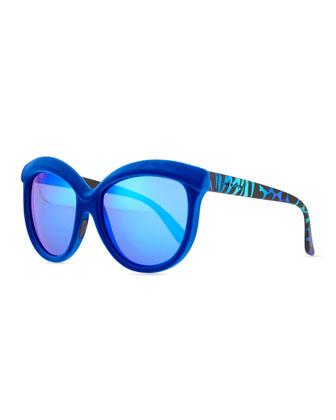 Velvet-Textured Enhanced-Brow Striped Mirror Sunglasses