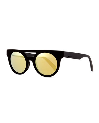 Velvet Brow-Bar Mirrored Sunglasses