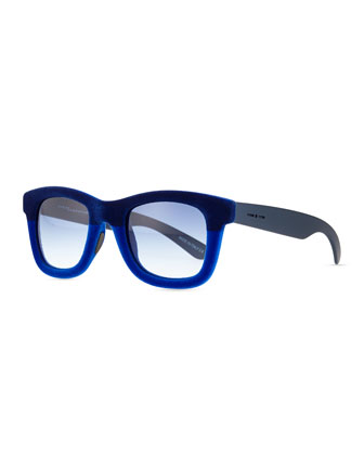 Velvet Textured Square Sunglasses, Dual Blue