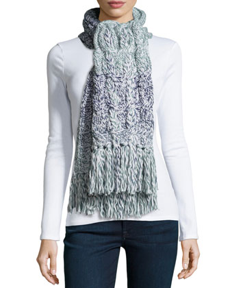 Grand Meadow Cable Fringe Scarf