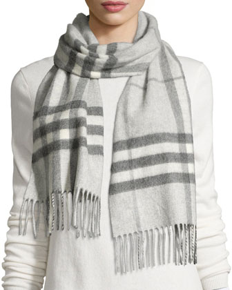 Cashmere Giant Check Scarf, Light Gray