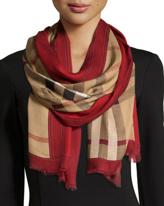 Haymarket Color Border Scarf, Red Check