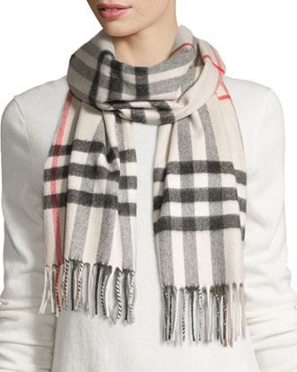 Cashmere Giant Check Scarf, Stone