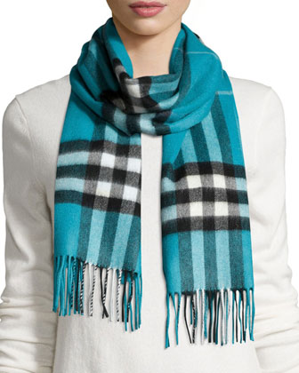 Giant Check Scarf, Dusty Teal