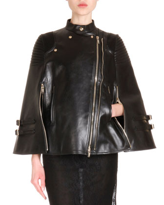Leather Asymmetric-Zip Moto Cape & Semisheer Lace Sheath Dress