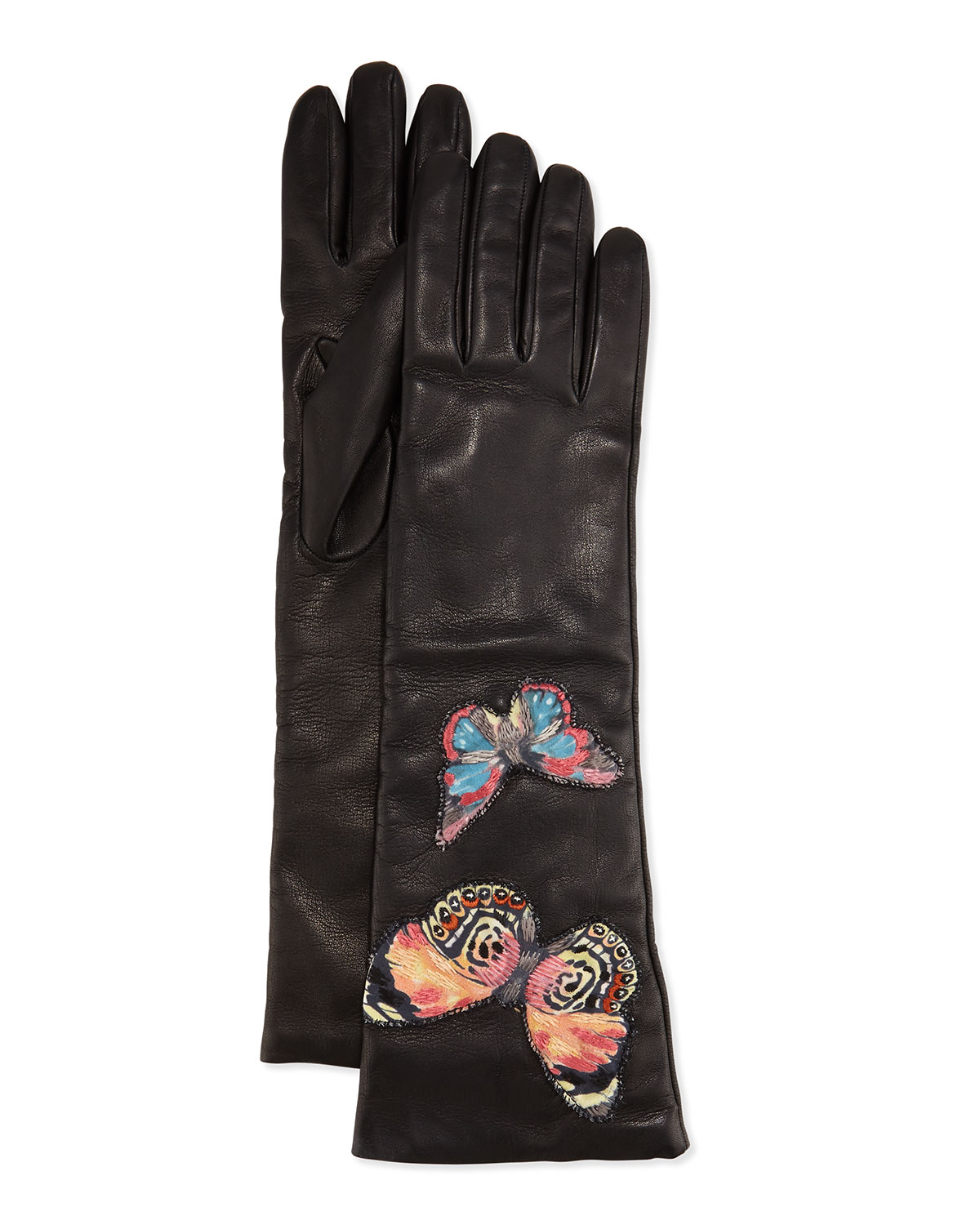 Napa Leather Butterfly Embroidered Gloves, Black, Size: 6.5 - Valentino