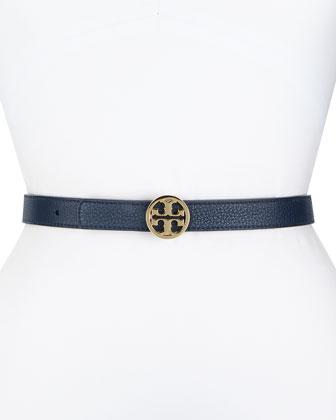 Robinson Reversible Logo Leather Belt, Blue/Red