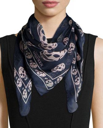 Skull-Print Silk Chiffon Scarf, Pink/Gray