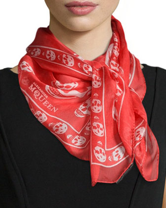 Skull-Print Silk Chiffon Scarf, Red/White