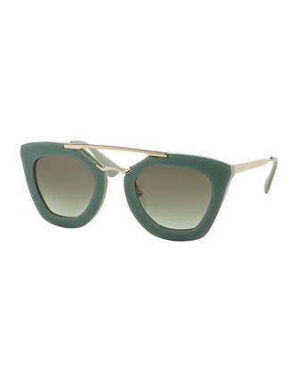 Acetate/Metal Cat-Eye Sunglasses