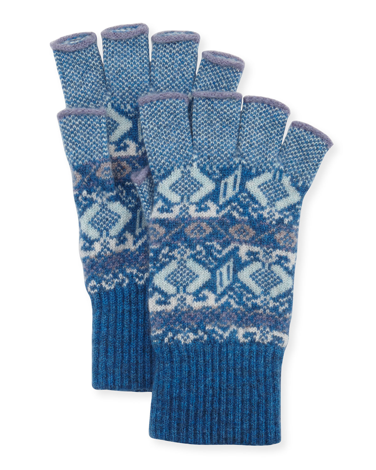 Cashmere Fingerless Gloves, Lapis - Brora