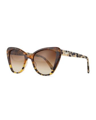 Venice Acetate Cat-Eye Sunglasses, Amber Tortoise