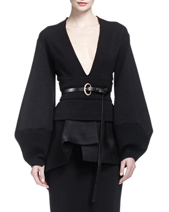 Origami-Collar Poplin Blouse, Slit Shadow Paneled Skirt & Organza ...