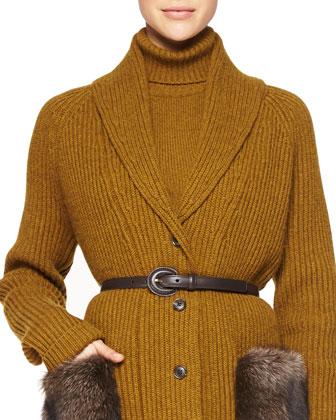 Fox Fur Tippet Collar, Paisley-Print Ruffle-Sleeve Dress & Skinny Leather Belt