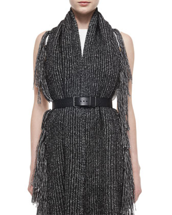 Front-Pleated Mini Dress, Simple Leather Belt & Oversized Knotted Fringe Scarf