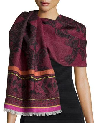 Berbero Paisley Wool/Silk Scarf, Cranberry