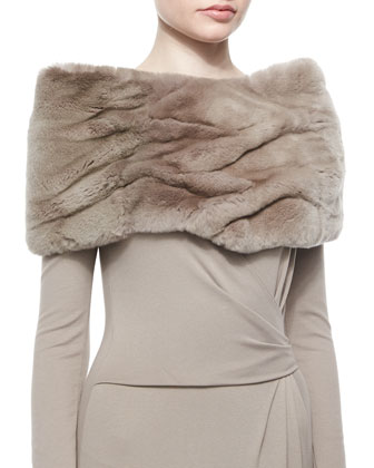 Rabbit Fur Eternity Scarf & Side-Gathered Jersey Dress