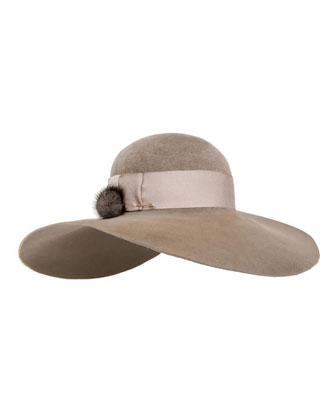 Honey Velour Wide-Brim Hat w/ Fur Pom-Pom, Brown