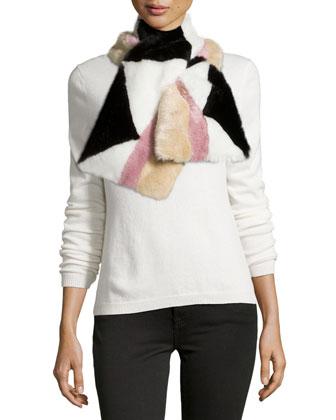 Addison Geometric Faux-Fur Pull-Through Scarf, Black/Pink