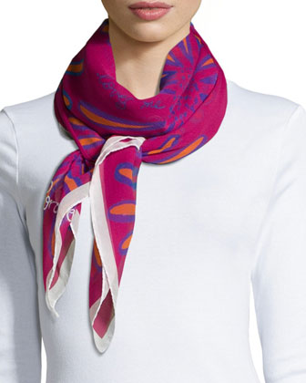 Loves Me Chiffon Scarf, Raspberry