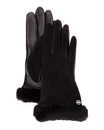 Classic Fur-Trim Suede Smart Gloves
