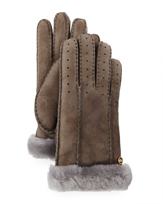 Perforated Two-Point Shearling Fur Gloves