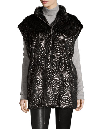 Foiled-Overlay Rabbit Fur Vest, Black/Silver