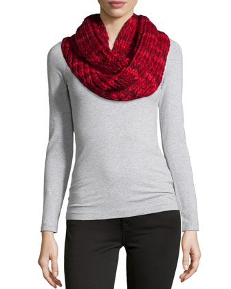 Chunky Knit Infinity Scarf, Red