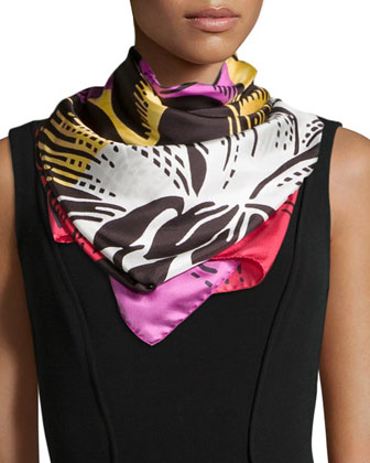 Printed Silk Scarf, Multi Stripe
