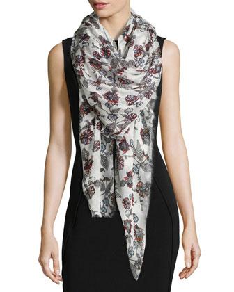 Floral-Print Scarf, Multi Colors