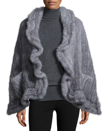 Mink Fur Knit Wrap w/Pockets