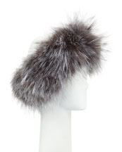 Fox Fur Headband, Silver