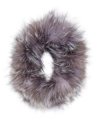 Fox Fur Headband, Silver